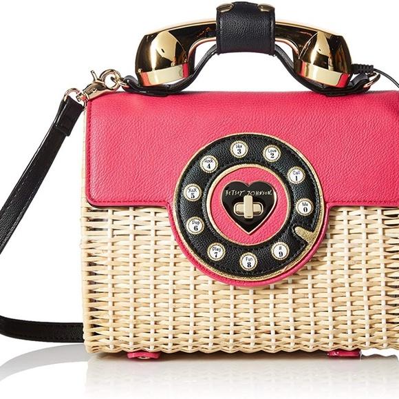 Betsey Johnson Handbags - Betsey Johnson Wicker Phone Bag